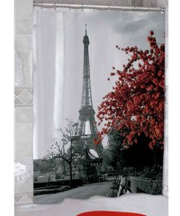 Cortina con teflón torre paris en rojo