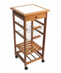 Mesa auxiliar de madera con rueda con deck